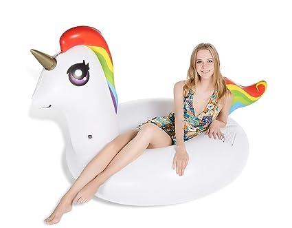 Jasonwell Unicornio Hinchable colchonetas Piscina Flotador para Piscina de Unicornio Gigante Balsa Inflable Flotador con diámetro 120 CM