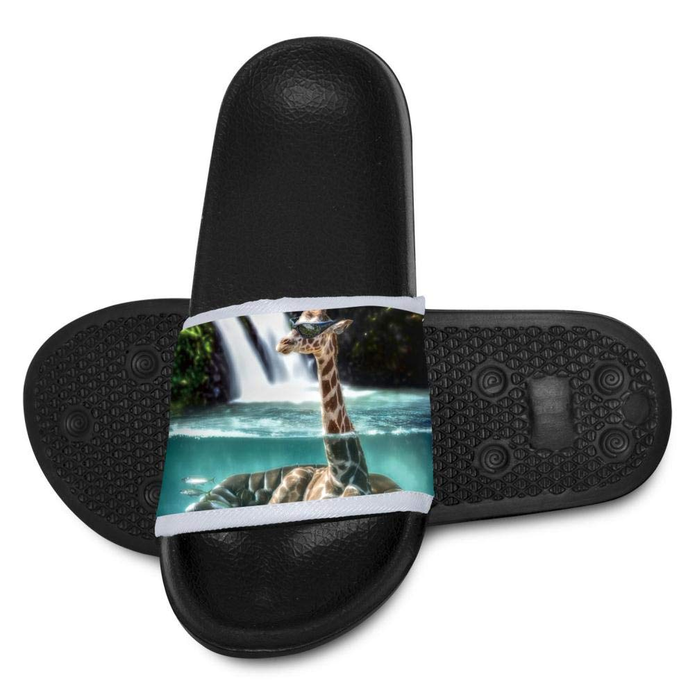 Qujki Kids Sunglass Giraffes Beach Sandal Non-Slip Bath Slipper Black