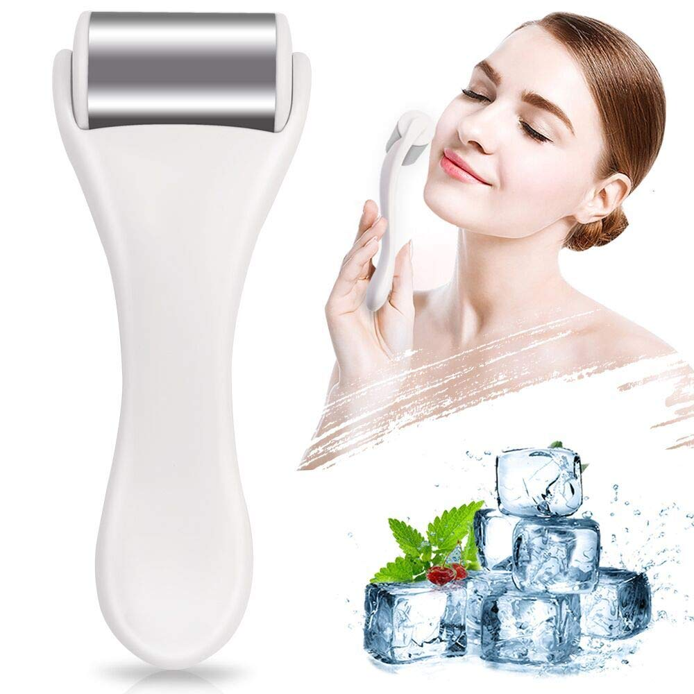 Ice Roller for Face & Eye, Puffiness, Migraine, Pain Relief and Minor Injury, Skin Care Products Stainless Steel Face Massager Ice roller massager (White) MAANGE
