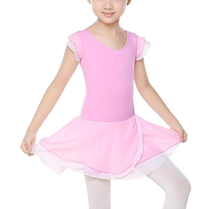 Happy Cherry - Niñas Vestido de Ballet Danza Verano Maillot de Baile con Mangas Cortas Braga