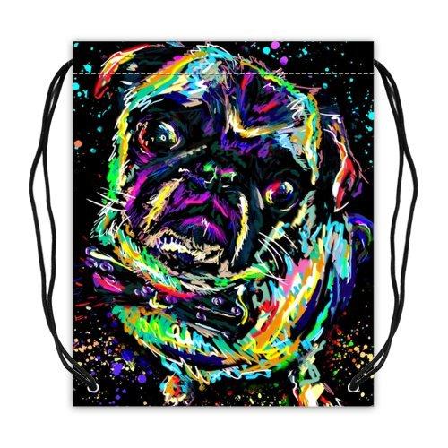 動物パグ子犬コレクションDrawstringバックパックバスケットボール巾着バッグ(両面) B01DEZR2G2