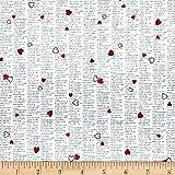 Dear Heart Newsprint Hearts White Pink Fabric By The Yard