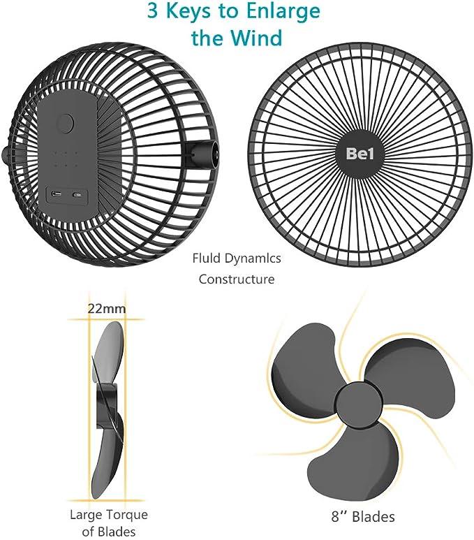 Opolar 10000 mAh ventilador de clip con batería recargable de 8 ...