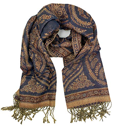 Plum Feathers Tapestry Ethnic Paisley Pattern Pashmina Scarf (Navy-Brown Metallic Paisley)
