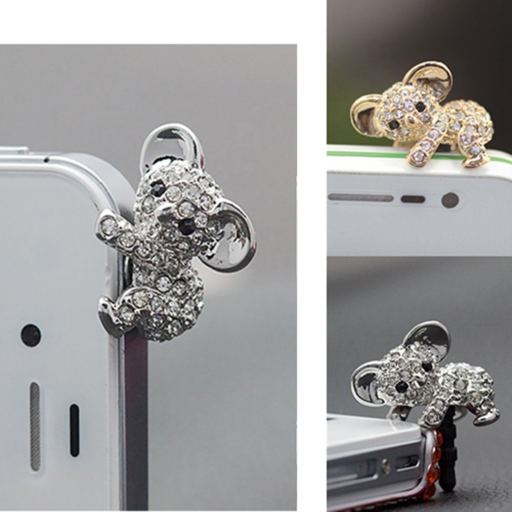 2 Pairs Dust Caps for Phone, Koala Shape Earphone Jack Accessories Dust Plug Lovely Decor for Iphone 6s 6 Ipad Samsung Galaxy s7 s6 note5 Other Cellphone 3.5mm Ear Jack