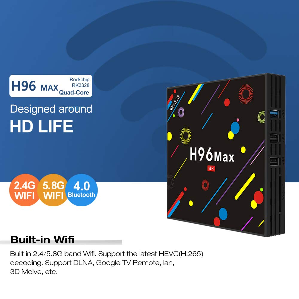 EstgoSZ H96 Max TV Box 4GB Ram 32GB ROM Android 7 1 RK3328 4K Smart Android  TV Box Support 2 4G 5G Dual WiFi 100M LAN USB3 0 BT4 0 3D H265 UHD Android