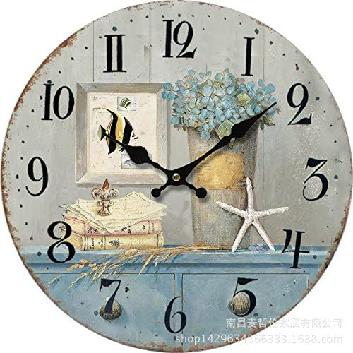 Wenxuan Retro Vintage Wooden Wall Clock 12 Inch Starfish Ocean style