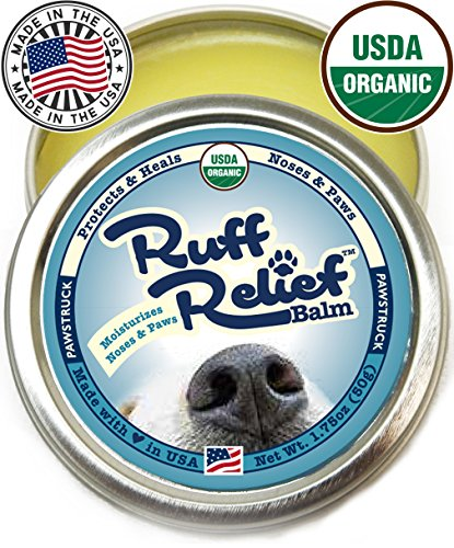 Organic Nose & Paw Wax Balm for Dogs | 100% Natural, Made in USA, USDA Certified Soother | Snout & Foot Pad Ointment Cream Moisturizer for Dry Cracked K9 or Puppy Skin | Ruff Relief Paw Protection ()