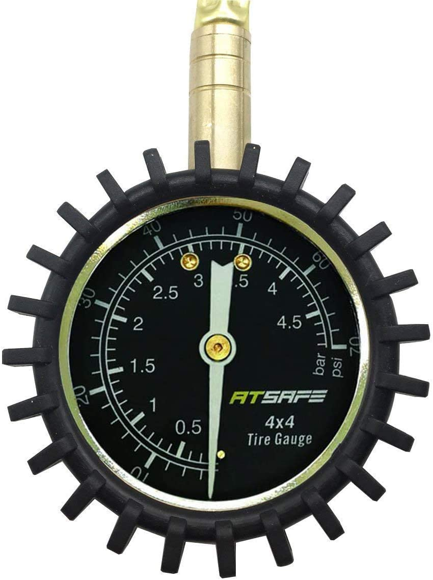 ATsafepro 2 in 1 Professional Rapid Air Down Tire Deflator Pressure Gauge 75Psi with Special Chuck for 4X4 Large Offroad Tires on Jeep ATV Truck
