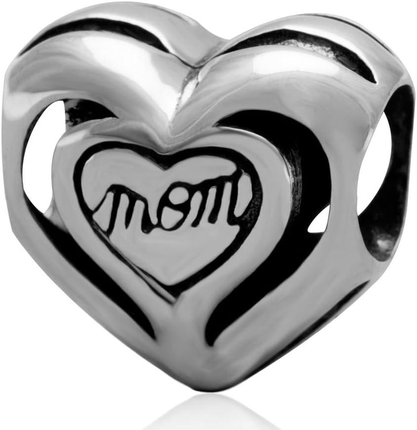 Shengzu Beads Mom Heart Charm 925 Sterling Silver Bead for European Brand Bracelet