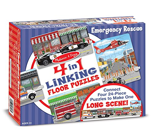 Melissa & Doug Rescue Vehicles 4-in-1 Jumbo Linking Jigsaw Floor Puzzle (96 pcs, 5 feet long)