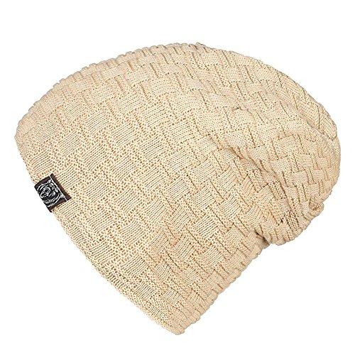 tamaño de Gorro slouchy caliente un forrado hombre 3 de sombreros elasticidad Moda esquí punto Invierno holgados de Beige ocio paquete para khaki de de gorro HHqr1Fx