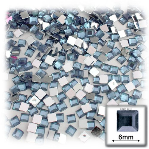 The Crafts Outlet 144-Piece Flat Back Square Rhinestones, 6mm, Light - 144 Rhinestones Square Piece