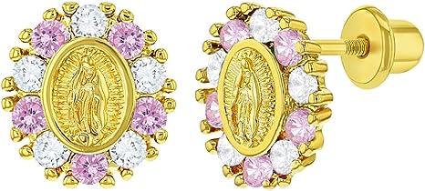 Our Lady of Guadalupe Stud Earrings Broquel 14K Virgen de Guadalupe 14K Gold Screw Back Earring Girl Earrings Guadalupe Earrings with CZ