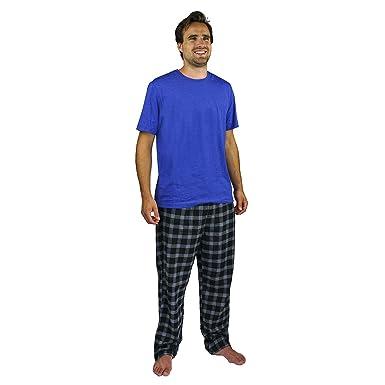 7ffd2e8cdd Amazon.com: Nautica Men's Pajama Set with T-Shirt and Plaid Pant: Clothing
