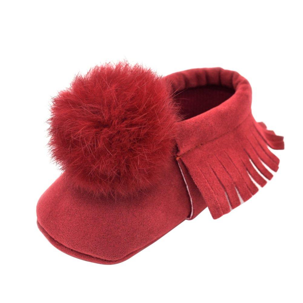 Weixinbuy Newborn Baby Boys Girls Fur Ball Tassel Soft Sole Crib Shoes Moccasin
