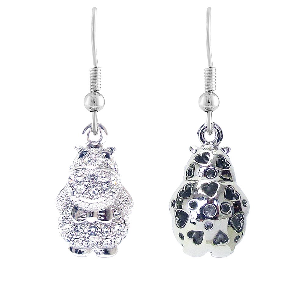 Lola Bella Gifts Crystal Hippo Earrings with Gift Box