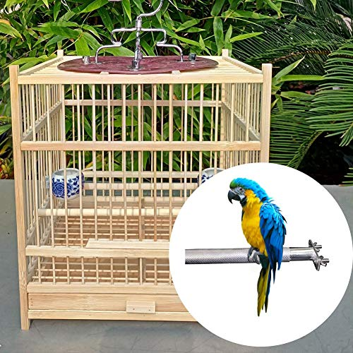 Coaste Birdcage Stands, Bird Perch Parrot Stainless Steel Bird Standing Rod Bird Supplies, Teether Cage Tool 28CM, Bird Cage Perch for Parrot Cages Toy ()