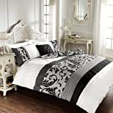 REVERSIBLE FLORAL PLEATED DOUBLE BED DUVET COVER QUILT BEDDING SET SCROLL BLACK by Gaveno Cavailia