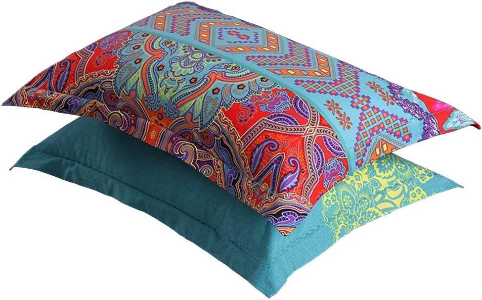 "LELVA Boho Pillow Cases Set of 2 Piece Standard Colorful Bohemian Striped Pillowshams 100% Cotton Brushed Pillow Covers Pillow Protectors 20"" x 30"" Pattern# 2"