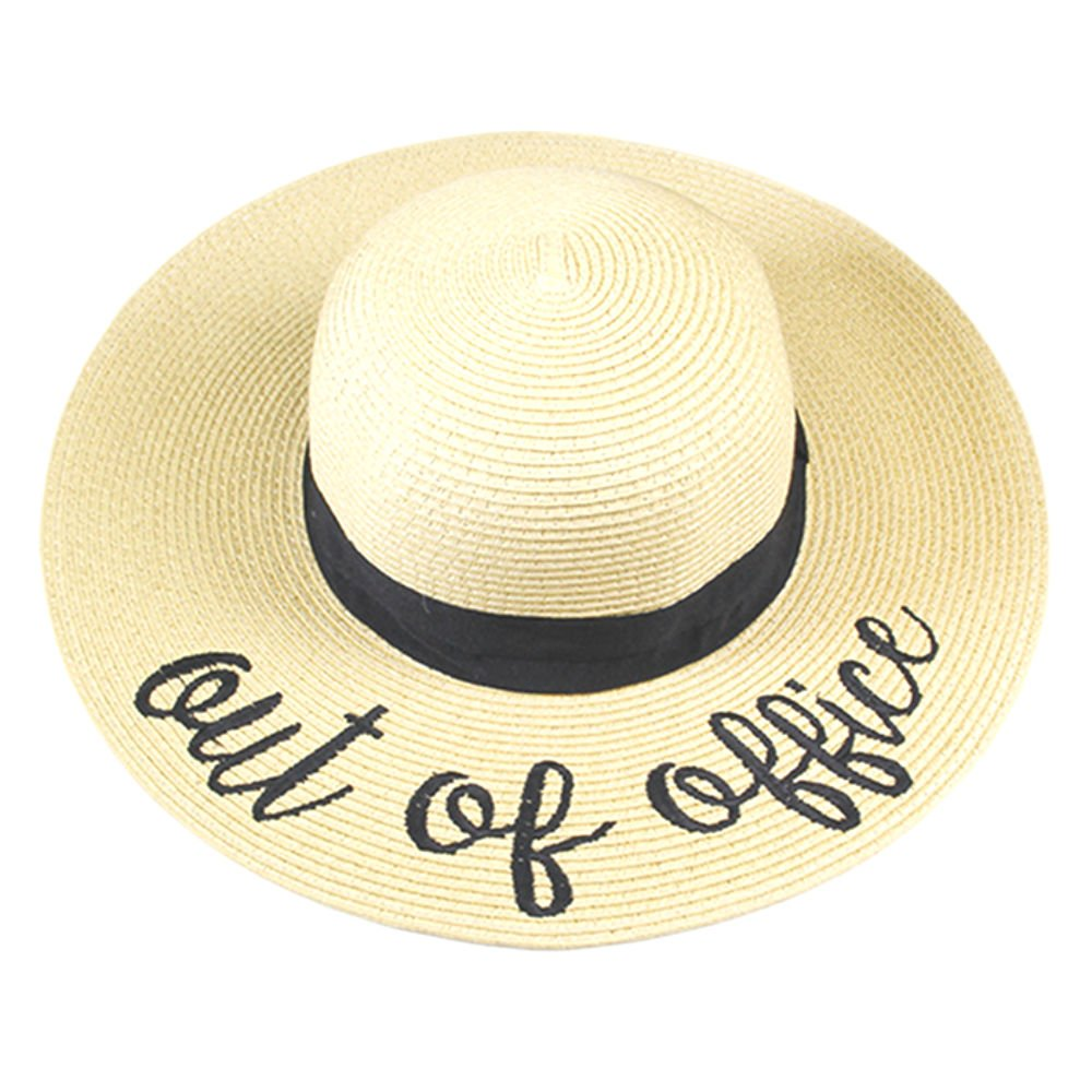 84dc1aa5b92 Amtal Women Elegant Wide Brim Embroidered Beach Pool Floppy Summer Vacation  Sun Hat