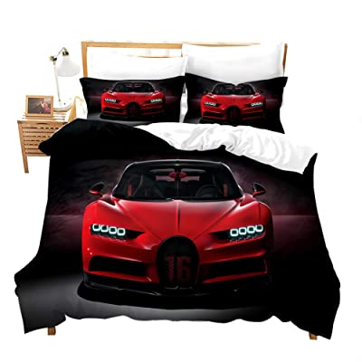 Red Racing Car Comforter Cover for Boys Men Full Cool Speed Racing Bedding Set with Zipper Sport Car Bedspread with Black Pattern 3Pieces Duvet Cover Set(1 duvet cover 2pillow case)for Kids Room Decor: Home & Kitchen