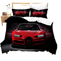 Red Racing Car Comforter Cover for Boys Men Twin Cool Speed Racing Bedding Set with Zipper Sport Car Bedspread with…