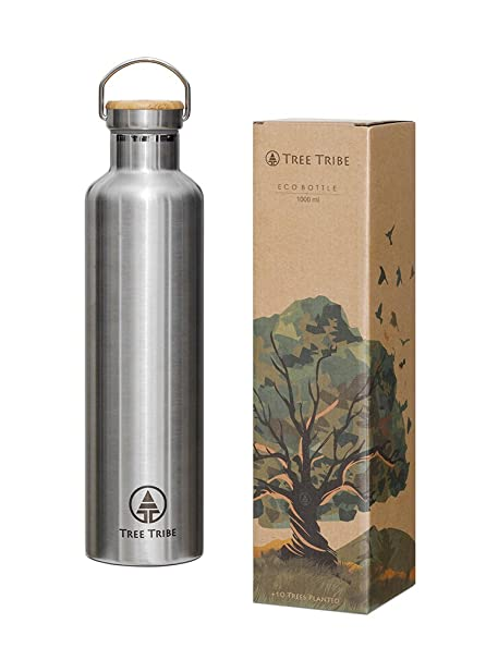 546cebc333a7 Tree Tribe 1 Litre Stainless Steel Water Bottle - Indestructible, Insulated