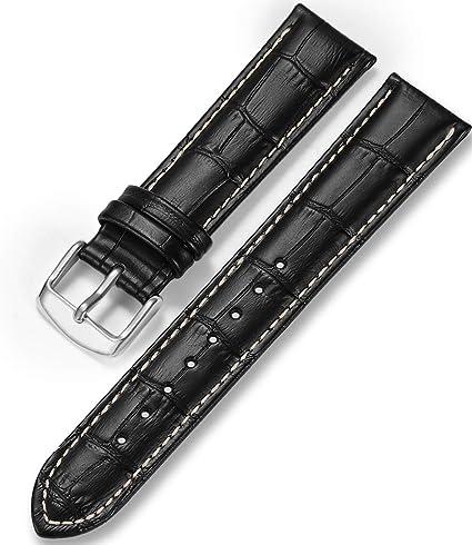 Imagen deCorrea de Piel Reloj iStrap Aligator Grano Replacement Reloj Banda 12/13/14/15/16/17 18 mm 19 mm 20 mm 21 mm 22 mm 24 Plateado Pin Hebilla Suave Pulsera – Negro Marrón
