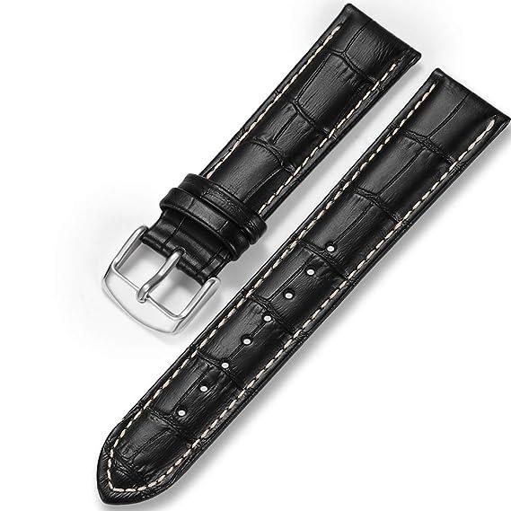 Correa de Piel Reloj iStrap Aligator Grano Replacement Reloj Banda 121314151617 18 mm 19 mm 20 mm 21 mm 22 mm 24 Plateado Pin Hebilla Suave