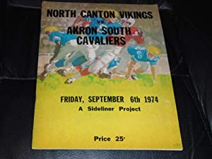 1974 NORTH CANTON HOOVER VS AKRON SOUTH OHIO HIGH SCHOOL FOOTBALL PROGRAM