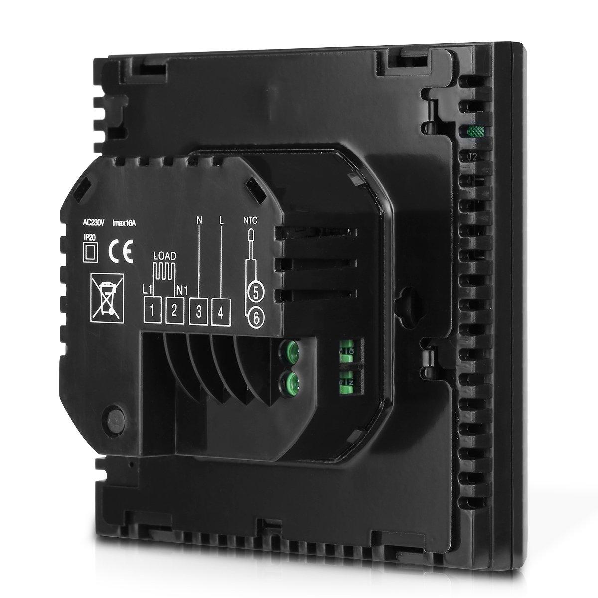 FLOUREON Termostato de Calefacción Eléctrica con Wi-Fi Programable Semanal para Regulación de Temperatura, Pantalla Digital y Táctil, Color Negro
