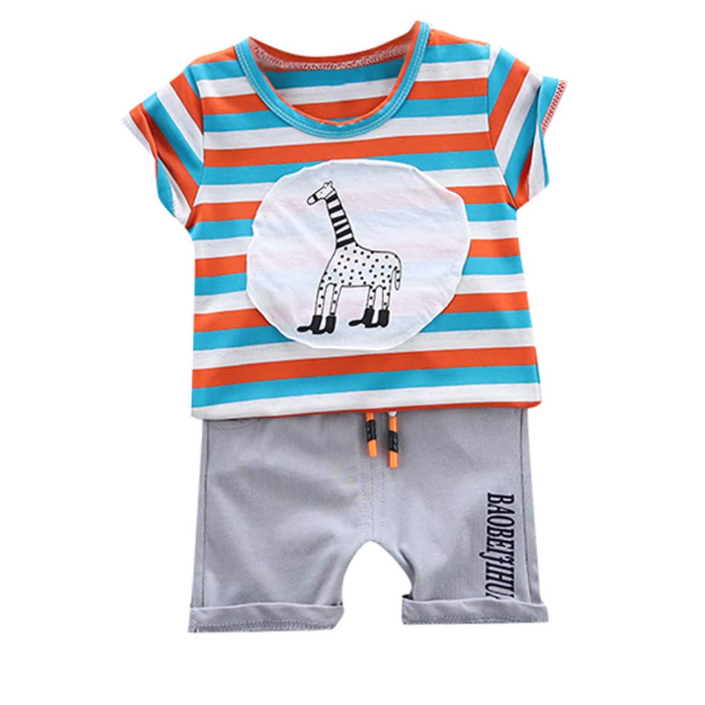 Summer Short Sleeve Set,Kids Boys Casual Stripe Giraffe T-Shirt Tops+Letter Shorts 2Pcs (Light Blue, Recommended Age:6-12Months)