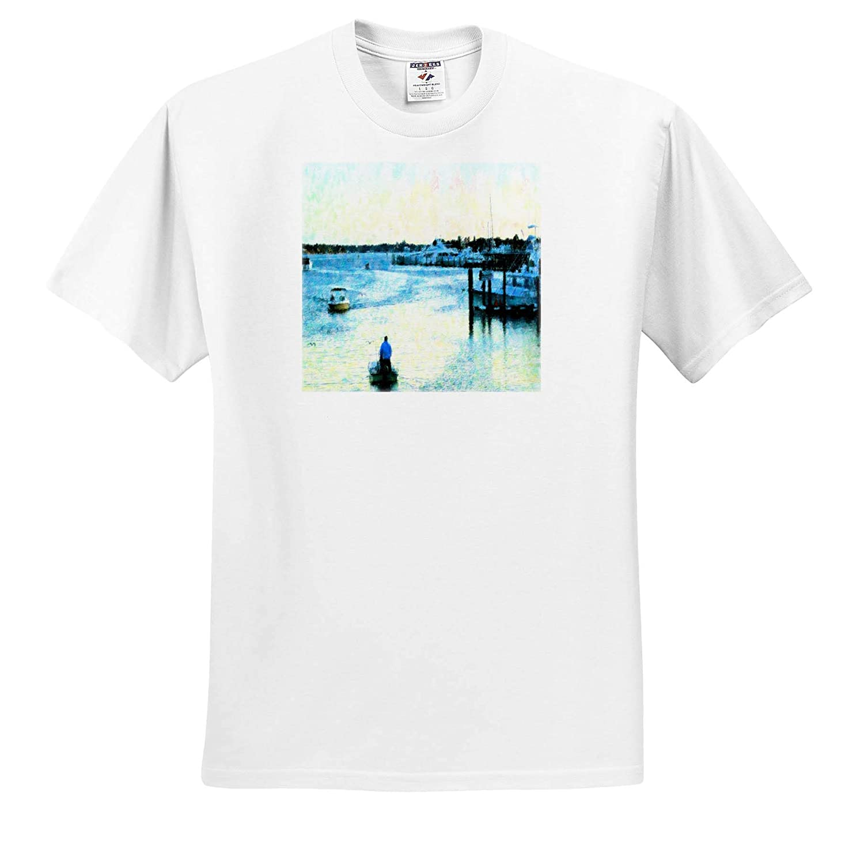 T-Shirts Image of Gordon River Naples Boating Impressionism Modern Impressionism 3dRose Lens Art by Florene
