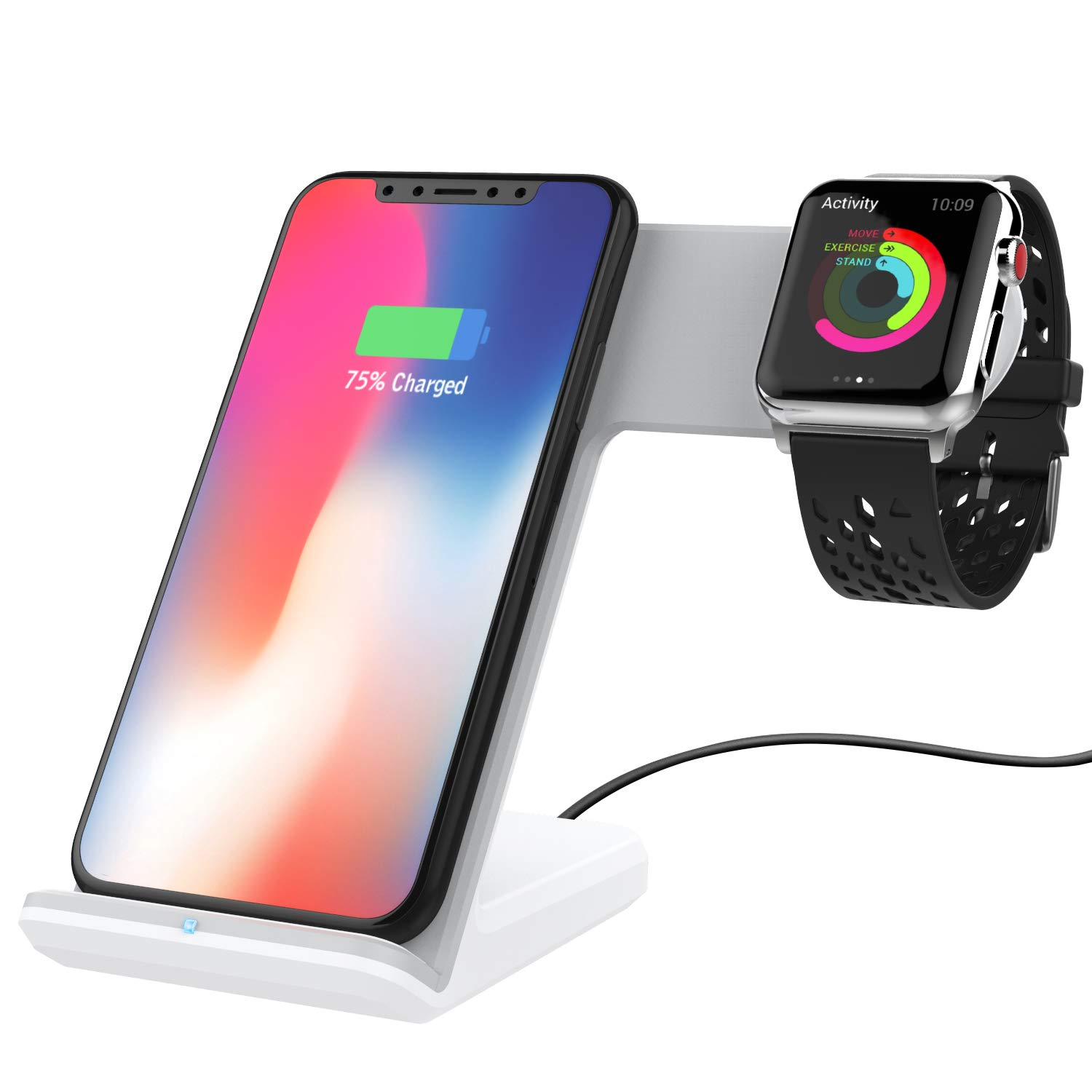 MoKo 2 in 1 Wireless Charger Stand, Dual Qi Fast Charging Dock 2W for Apple Watch Series 2/3, 7.5W for iPhone X/8/8 Plus, 10W for Samsung Galaxy S9/S9+/Note 8, 5W for Qi-Enabled Devices - White