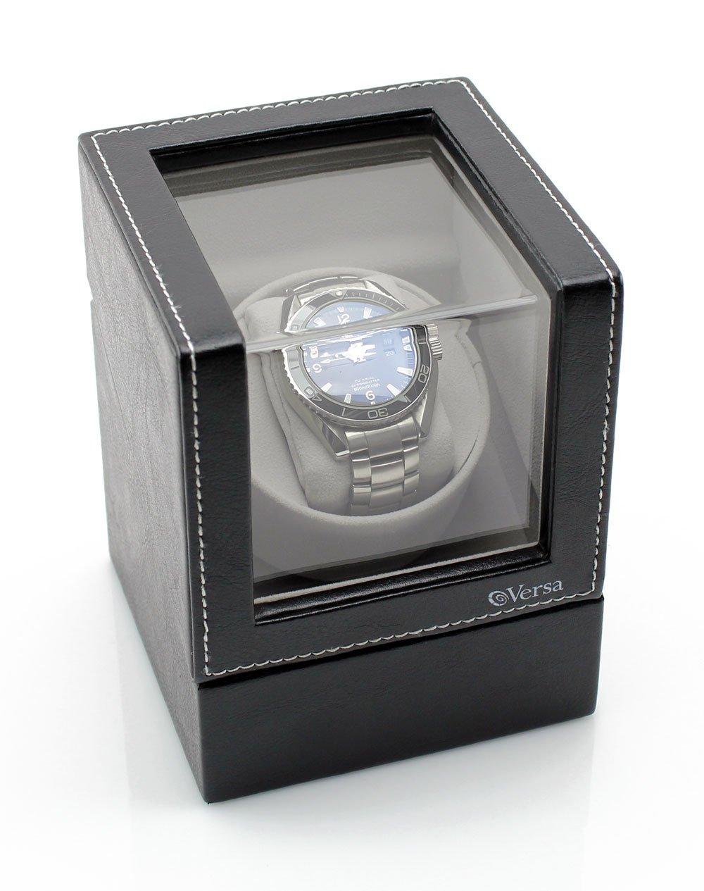 Versa Elite Single Watch Winder in Black Leather