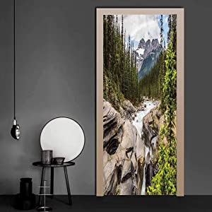 WallStickers Landscape, River Float Between Rocks Vinyl Door Mural Decals Easy-to-Clean, Durable 36 x 79 Inch