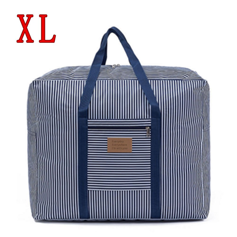 Foldable Travel Bag Waterproof Luggage Bag Clothes Storage Carry-On Duffle Organiser Moving bag quilt bag Large Pockets (Blue-XL)