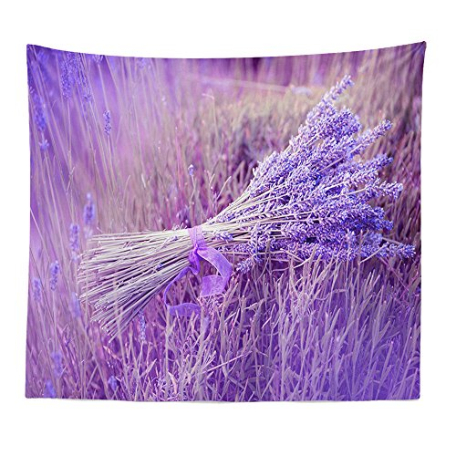 """charmsamx Purple Lavender Tapestry Watercolor Flower Tapestry Natural Landscape Flowers Fresh Colors Plant Tapestry Beach Mat Tablecloth Home Decor 59""""x 51"""""""