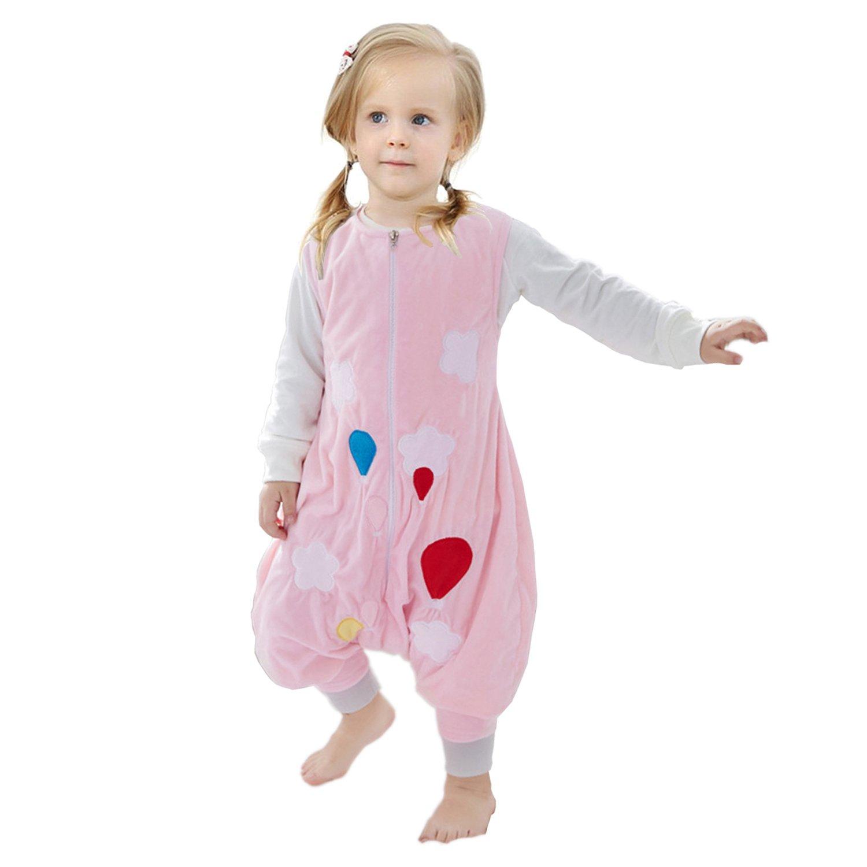 ZEEUAPI - Saco de dormir con piernas de franela para bebés niños infantíl Ropa para dormir (S (1-3 años), Rosa-globo): Amazon.es: Hogar