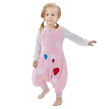 ZEEUAPI - Saco de dormir con piernas de franela para bebés niños infantíl Ropa para dormir (M (3-5 años), Rosa-globo): Amazon.es: Hogar