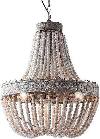 Lámpara de araña de cuentas de madera Lámpara de araña retro Luces ...