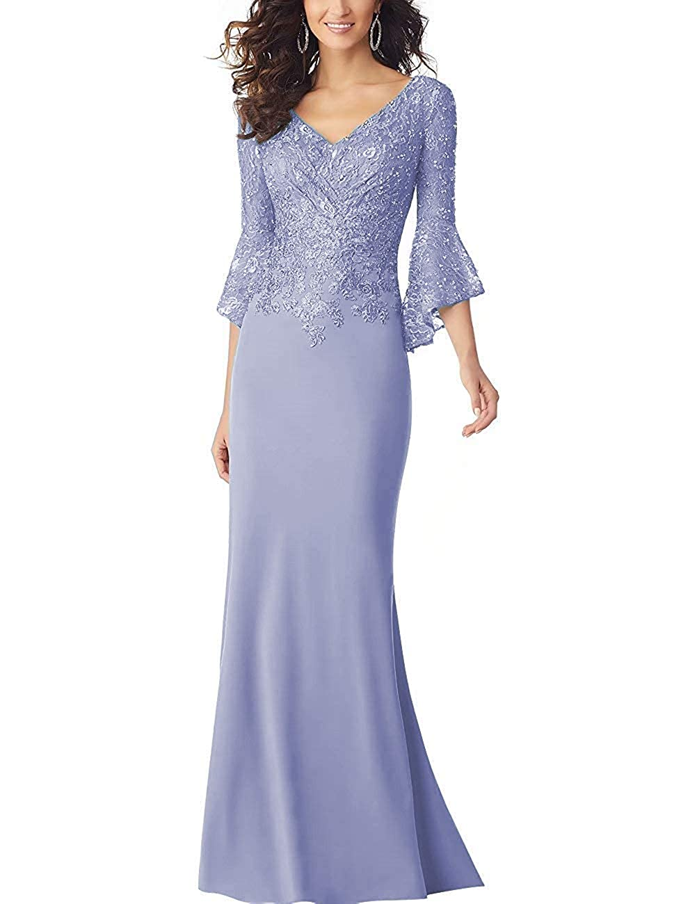 Lavender PearlBridal Women's Bodycon Mermaid Mother of The Bride Dresses Lace Ruffle Sleeves Long Evening Party Gown