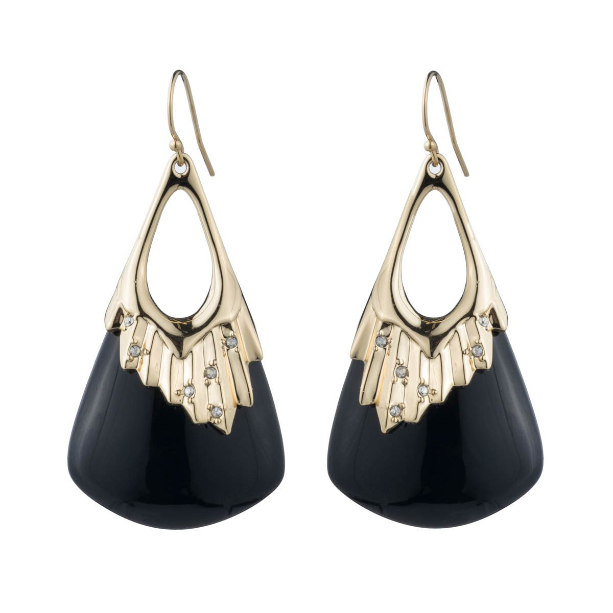 Alexis Bittar Crystal Studded Pleated Wire Black Drop Earrings