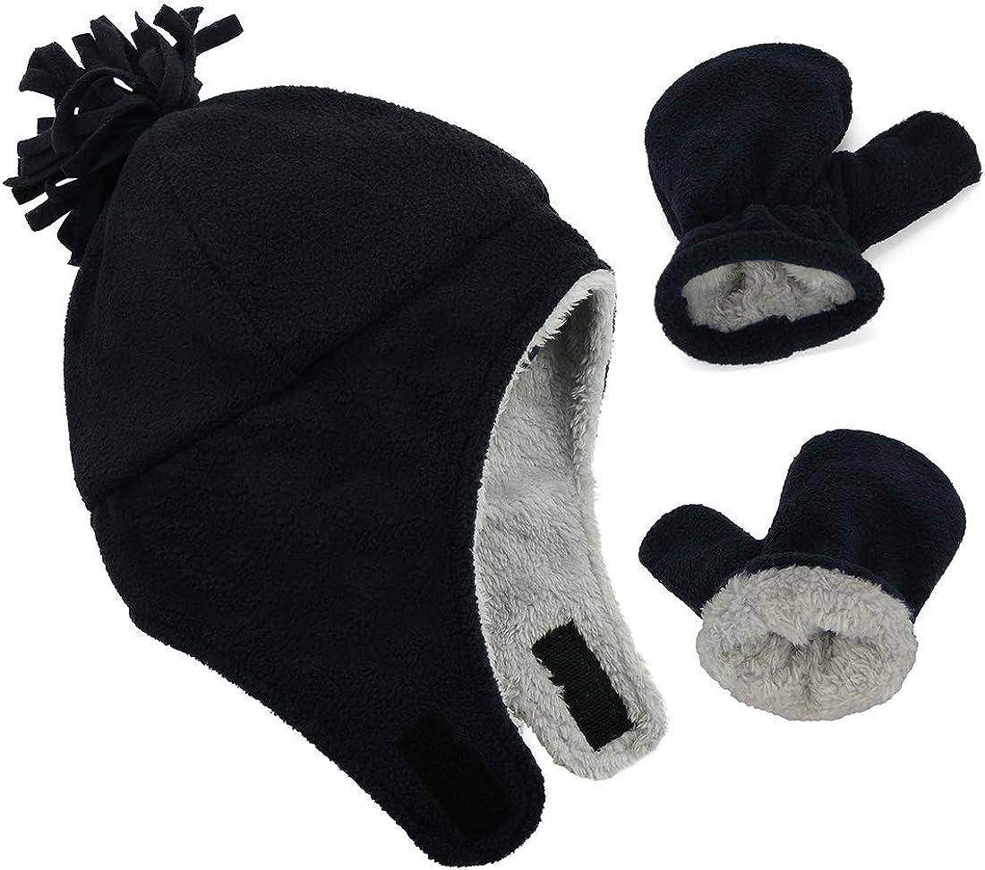 Durio Mittens Fleece Lined Baby Mittens 12-18 Months Warm Infant Baby Winter Mittens Cozy Toddler Mittens Black 1-2T