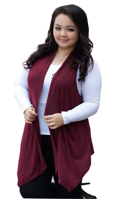Mooncolour Womens Plus-Size Long Vest Sleeveless Cardigan