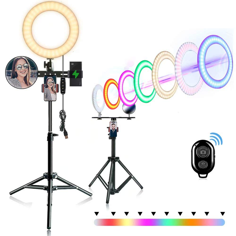 10'' Selfie Ring Light with Stand and Phone Holder, Adjustable RGB Rainbow Ring Light, for Live/Makeup/Self-Timer Photo/Video/Product Photography Compatible with iPhone Android by Feng