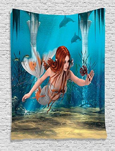Ambesonne Mermaid Tapestry, Lifelike Mermaid Holding a Sea Lily Magic Aquatic World Theme, Wall Hanging for Bedroom Living Room Dorm Decor, 40