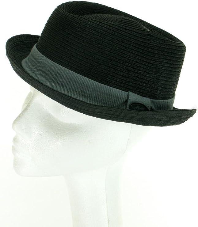 mod/èle Pork Pie en paille /écrasable Chapeau pour homme gris ou gris clair noir