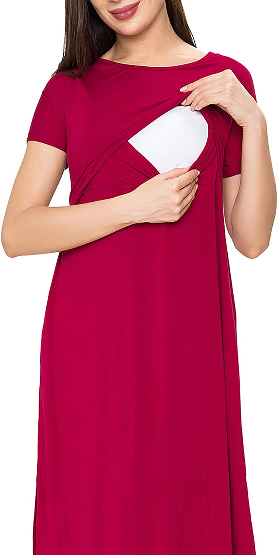 Smallshow Womens Maternity Nursing Dresses Split Long Dress for Breastfeeding